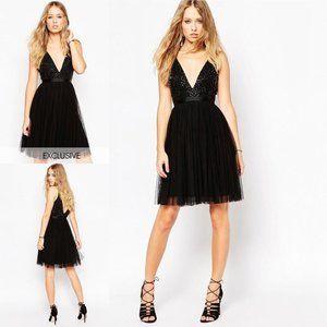 NWT Needle & Thread Embellished Plunge V Dress